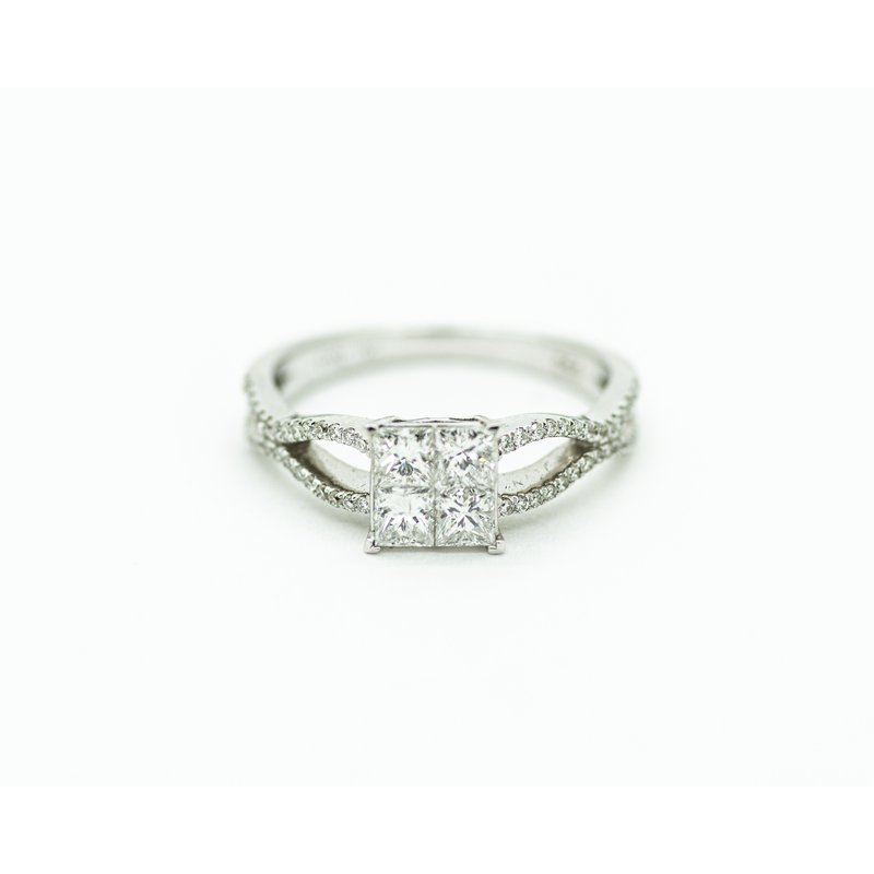 Jewelry Couture Exclusives 18k Princess Cut Diamond Cluster Engagement