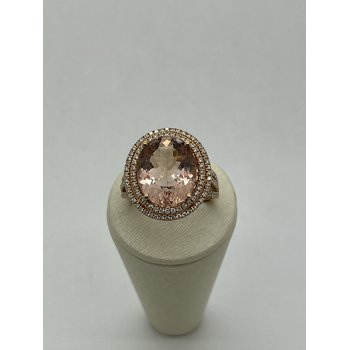 Morganite with Double Halo Ring