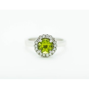 Round Peridot Diamond Halo Ring