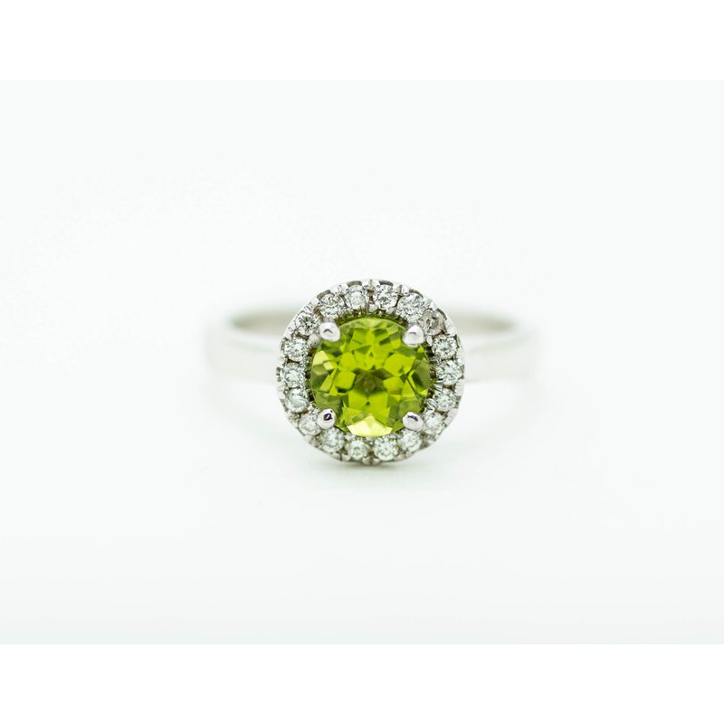 Jewelry Couture Exclusives Round Peridot Diamond Halo Ring