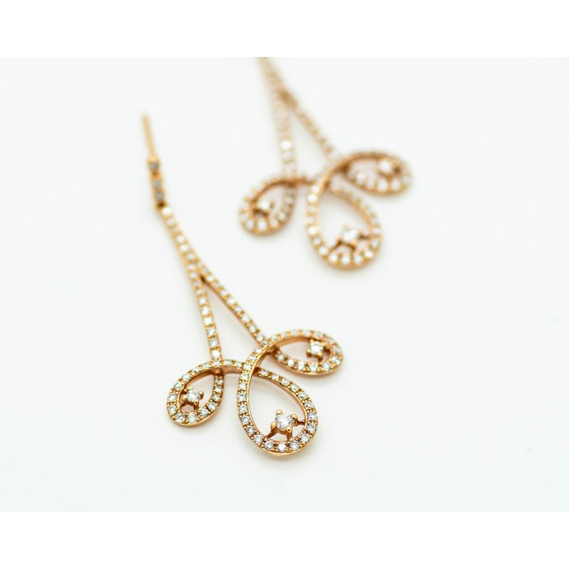 Jewelry Couture Exclusives Triptych Drop Diamond Rose gold Earrings