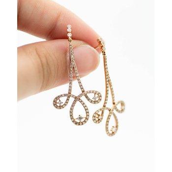 Triptych Drop Diamond Rose gold Earrings