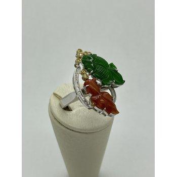 Jade and Diamond Fish Ring