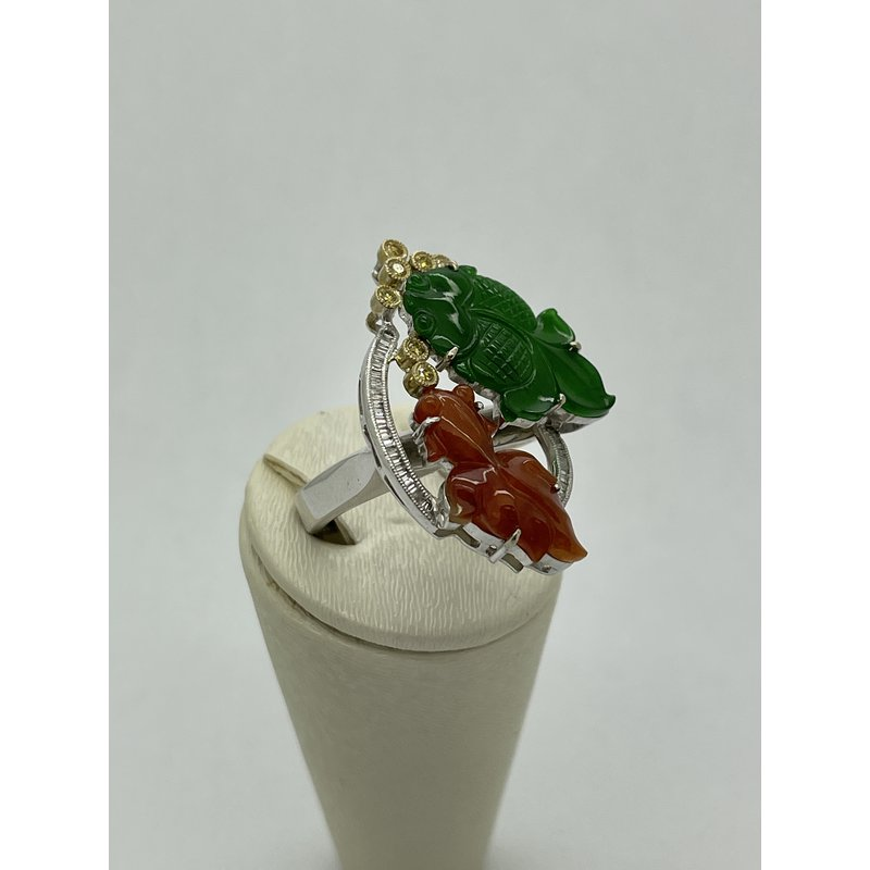 Jewelry Couture Exclusives Jade and Diamond Fish Ring