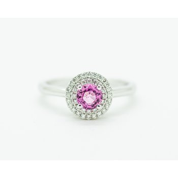 Pink Sapphire Double Halo Engagement Ring