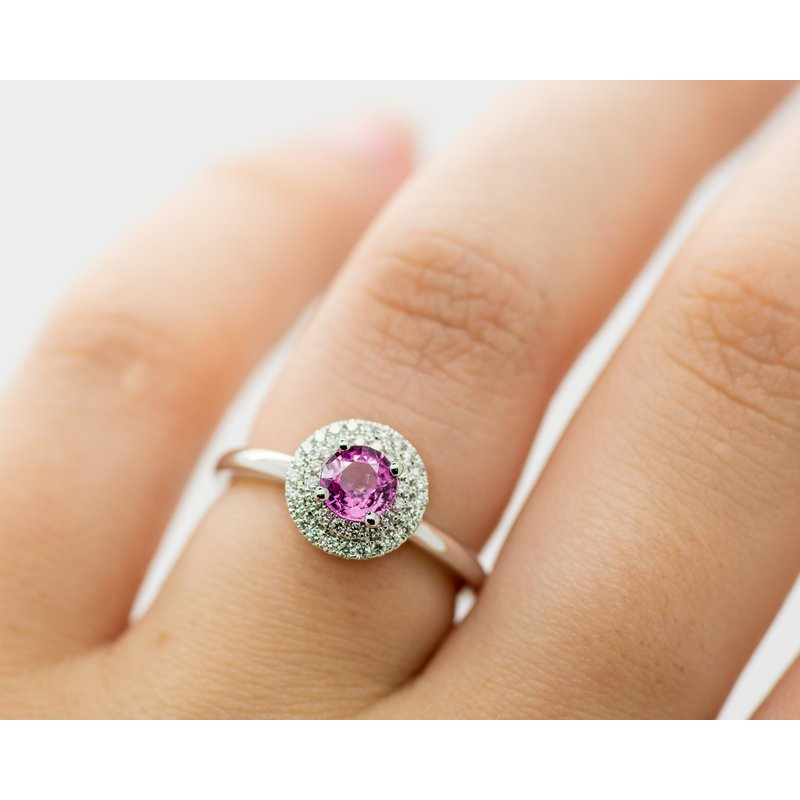Jewelry Couture Exclusives Pink Sapphire Double Halo Engagement Ring