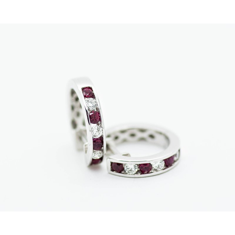 Jewelry Couture Exclusives Channel Set Diamond and Ruby Huggie Hoops