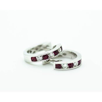 Channel Set Diamond and Ruby Huggie Hoops