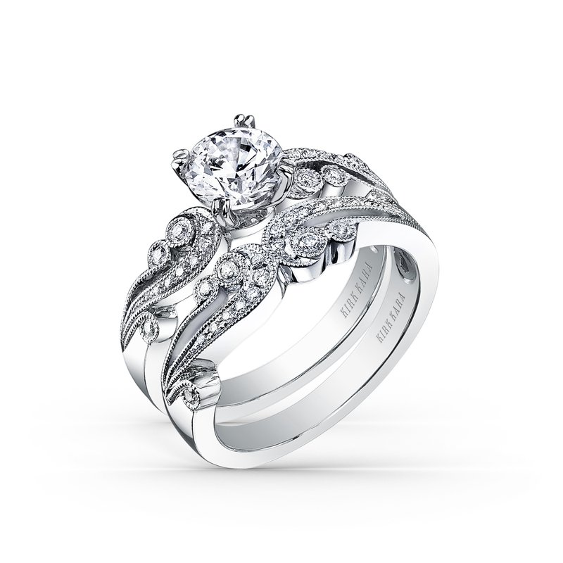 Artistic Waves Diamond Milgrain Wedding Band