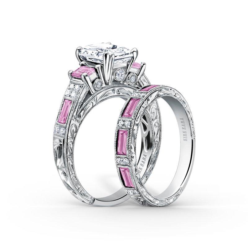 Hand Engraved Peek-a-boo Diamond Engagement Ring