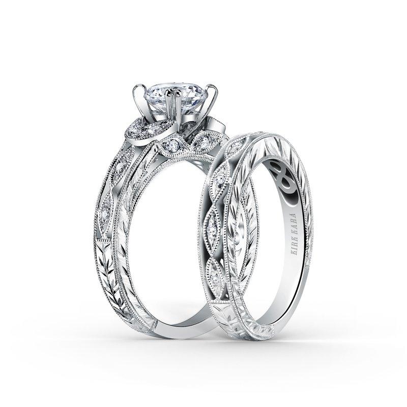 Intricate Engraved Diamond Wedding Band