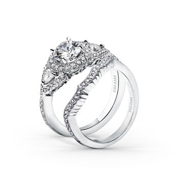 Contoured Milgrain Diamond Wedding Band