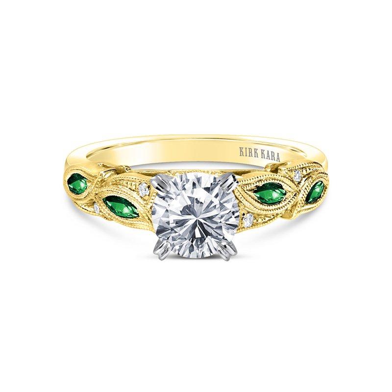 Green Tsavorite Diamond Engagement Ring