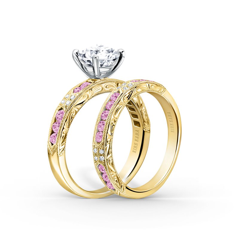 Pink Sapphire Diamond Engraved Wedding Band