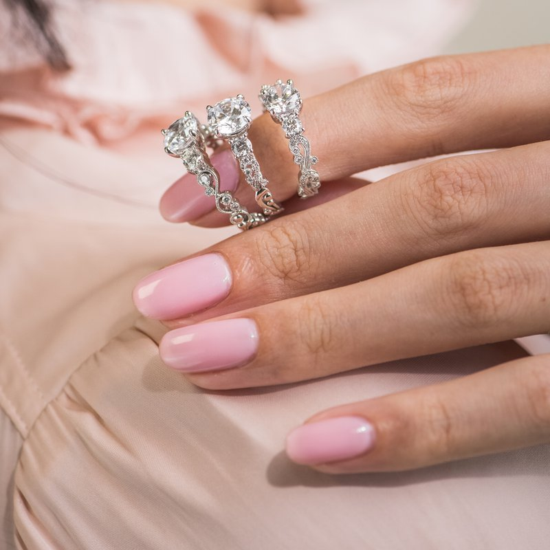 Three Stone Swirl Whimisical Diamond Engagement Ring