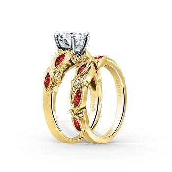 Ruby Diamond Botanical Engagement Ring