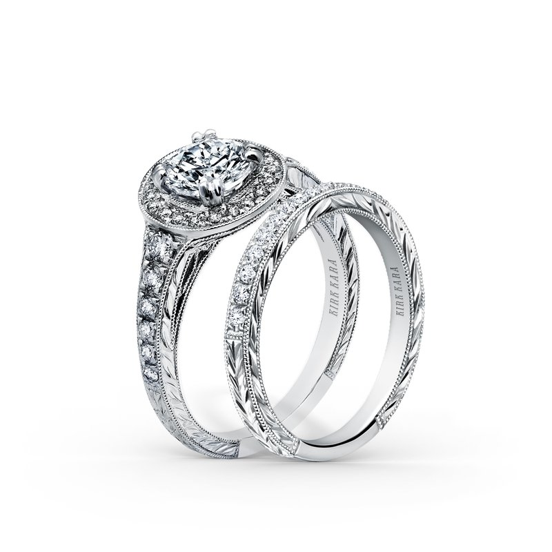 Glamorous Engraved Diamond Wedding Band