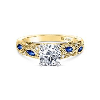 Sapphire Leaf Diamond Milgrain Engagement Ring