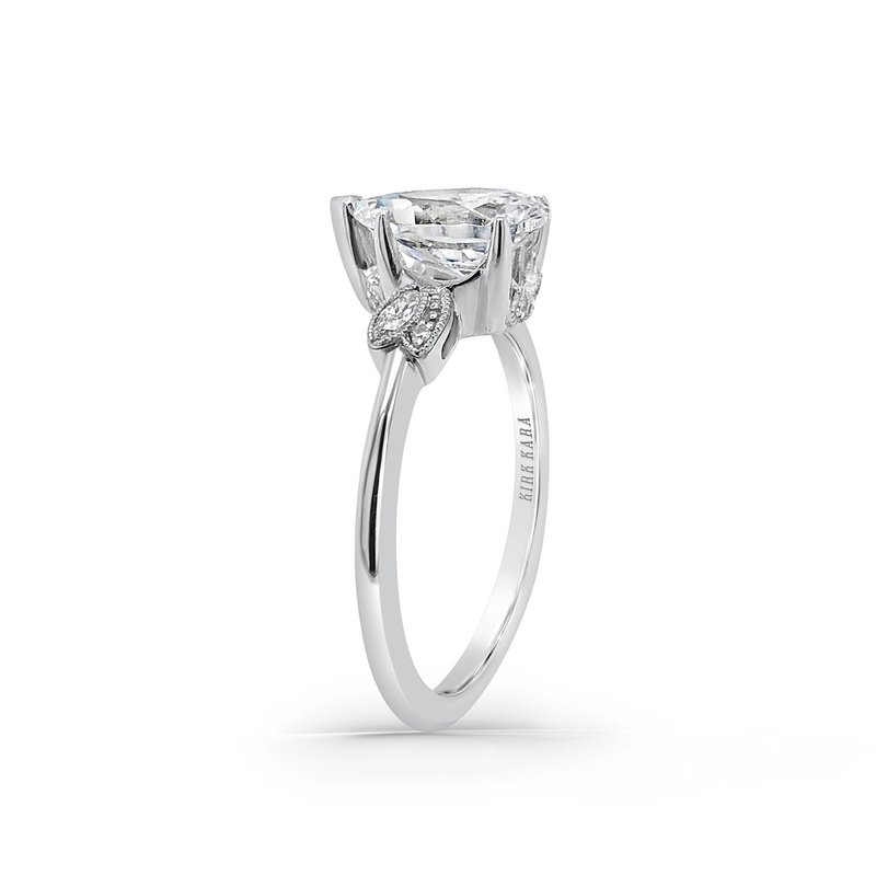 Floral Leaf Pear Diamond Engagement Ring