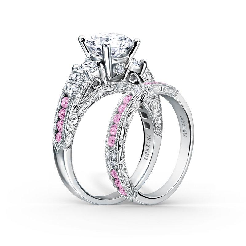 Pink Sapphire Engraved Diamond Wedding Band