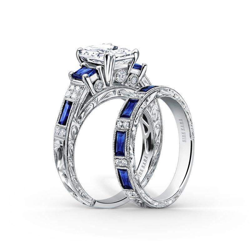 Sapphire Three Stone Diamond Engagement Ring