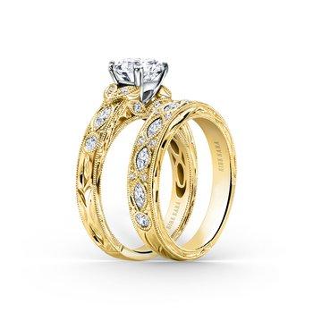 Engraved Marquise Diamond Wedding Band