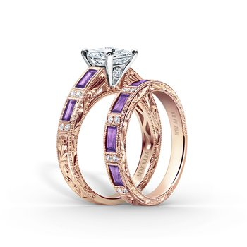 Amethyst Milgrain Diamond Wedding Band