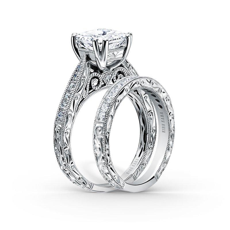 Engraved Princess Diamond Engagement Ring