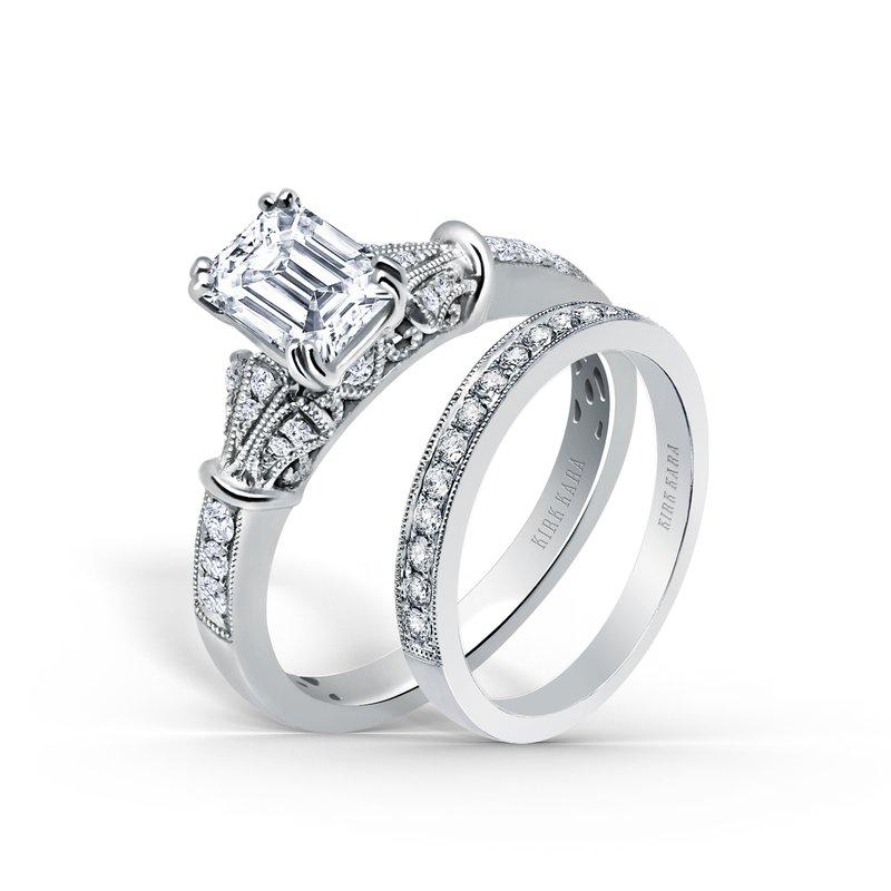 Three Leaf Diamond Emerald Engagement Ring