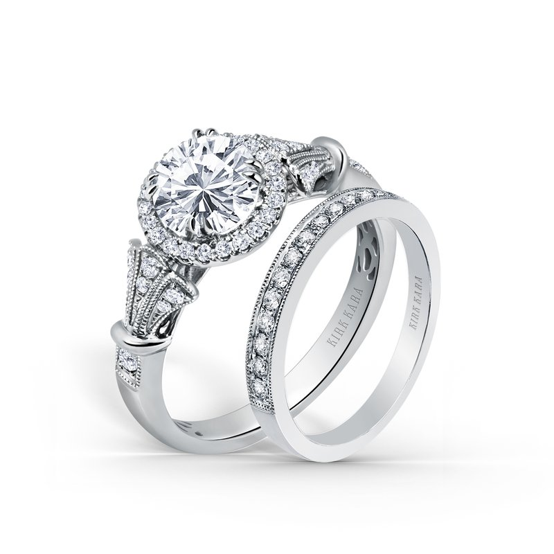 Three Leaf Halo Diamond Engagement Ring
