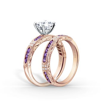 Amethyst Arftul Engraved Diamond Wedding Band