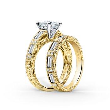 Deco Engraved Baguette Diamond Wedding Band