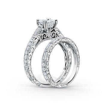 Engraved Filigree Diamond Engagement Ring