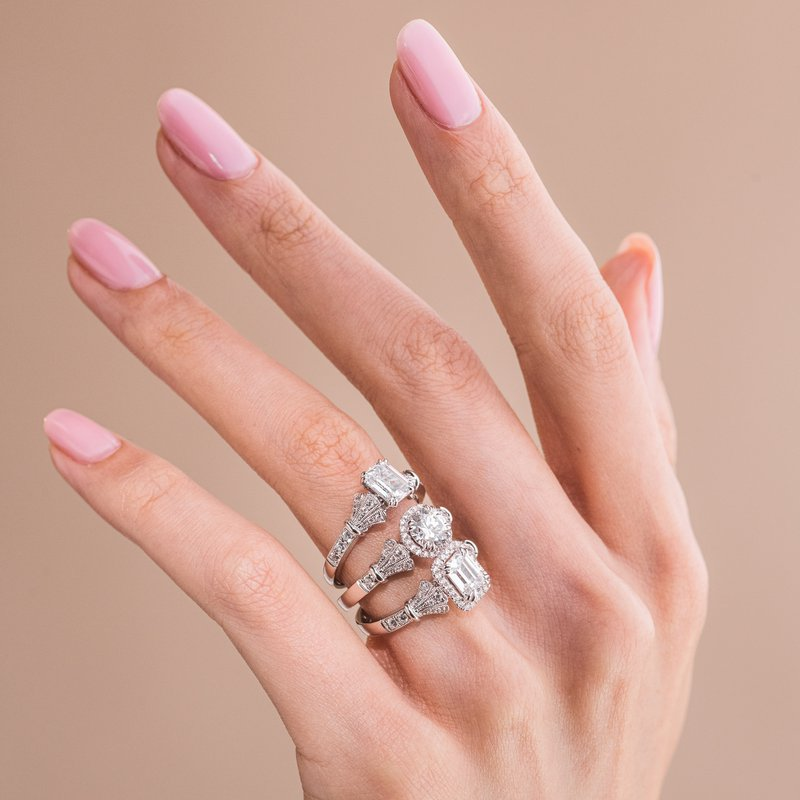 Three Leaf Diamond Engagement Ring
