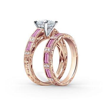 Deco Pink Sapphire Diamond Wedding Band