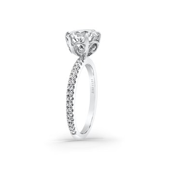 White Gold Paisley Solitare Diamond Engagement Ring