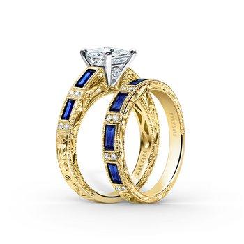 Blue Sapphire Artful Diamond Wedding Band