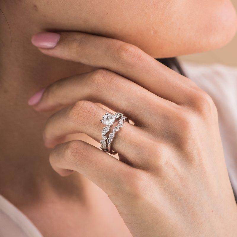 Paisley Swirl Milgrain Halo Diamond Engagement Ring