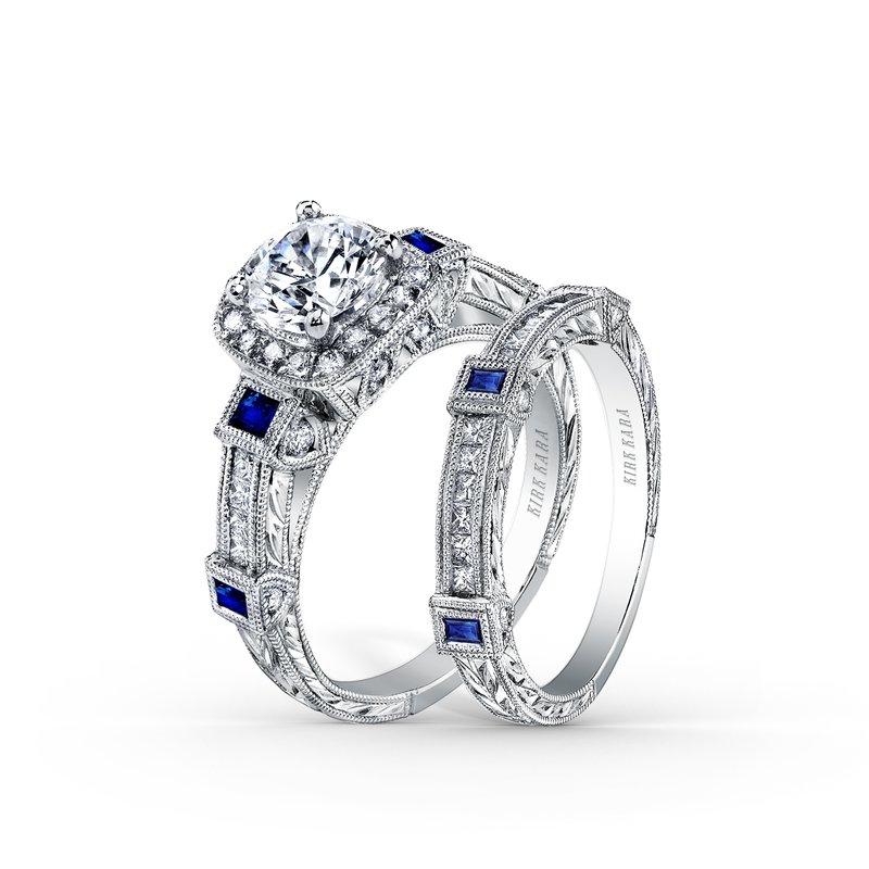 Blue Sapphire Halo Diamond Engagement Ring