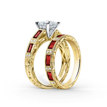 Deco Ruby Engraved Diamond Wedding Band