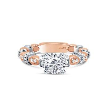 Two Tone Diamond Designer Leaf Engagement Ring