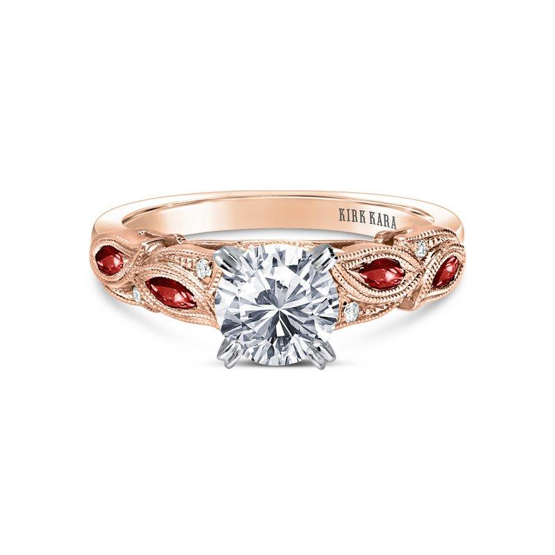 Ruby Leaf Diamond Engagement Ring