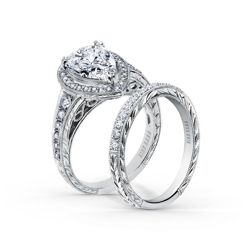 Elegant Pear Halo Diamond Engagement Ring