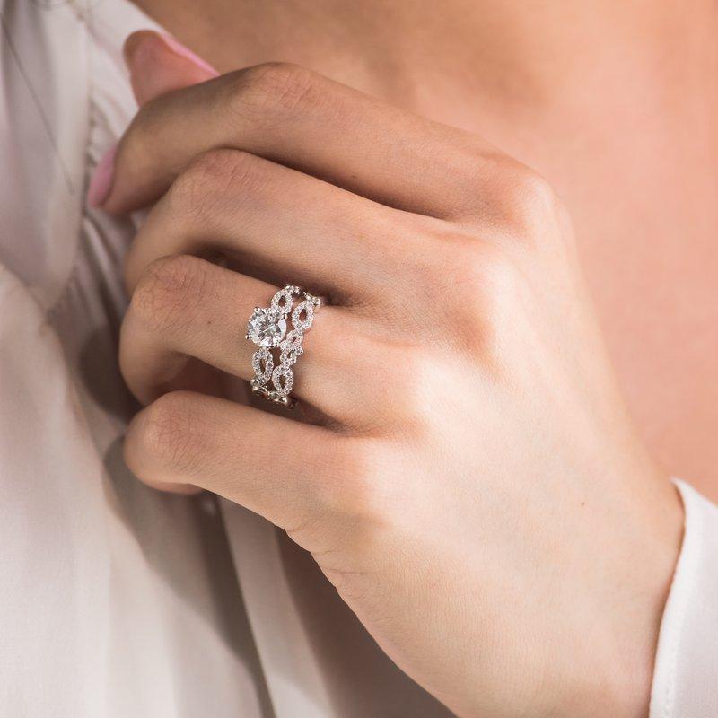 Vintage Inspired Crown Romantic Diamond Wedding Band