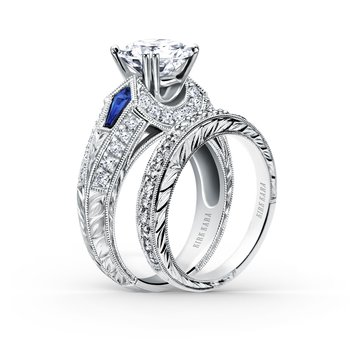 Sapphire Deco Diamond Engagement Ring