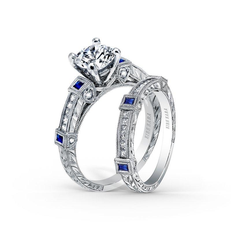 Blue Sapphire Milgrain Diamond Wedding Band