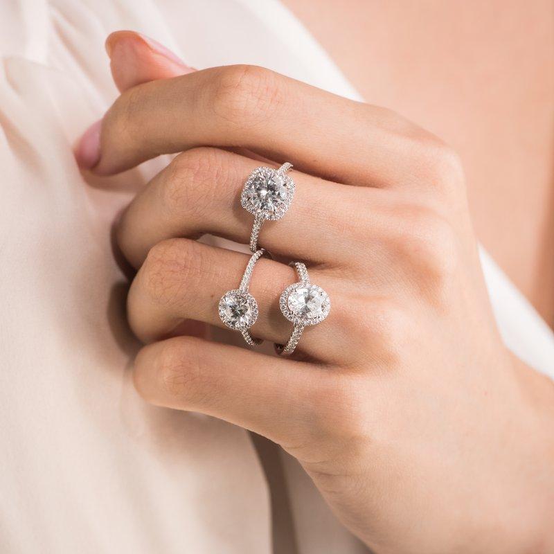 Classic Halo Diamond Shank Engagement Ring