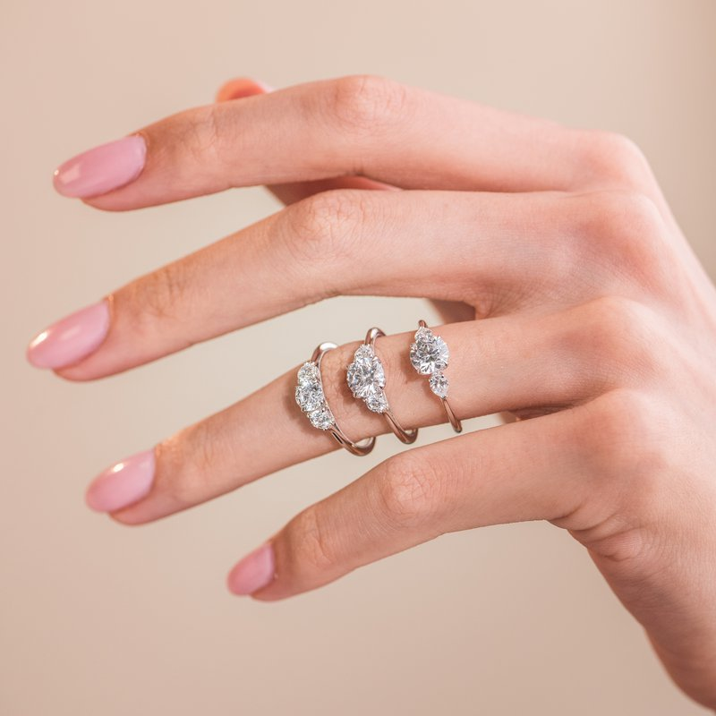 Three Stone Pear Diamond Engagement Ring