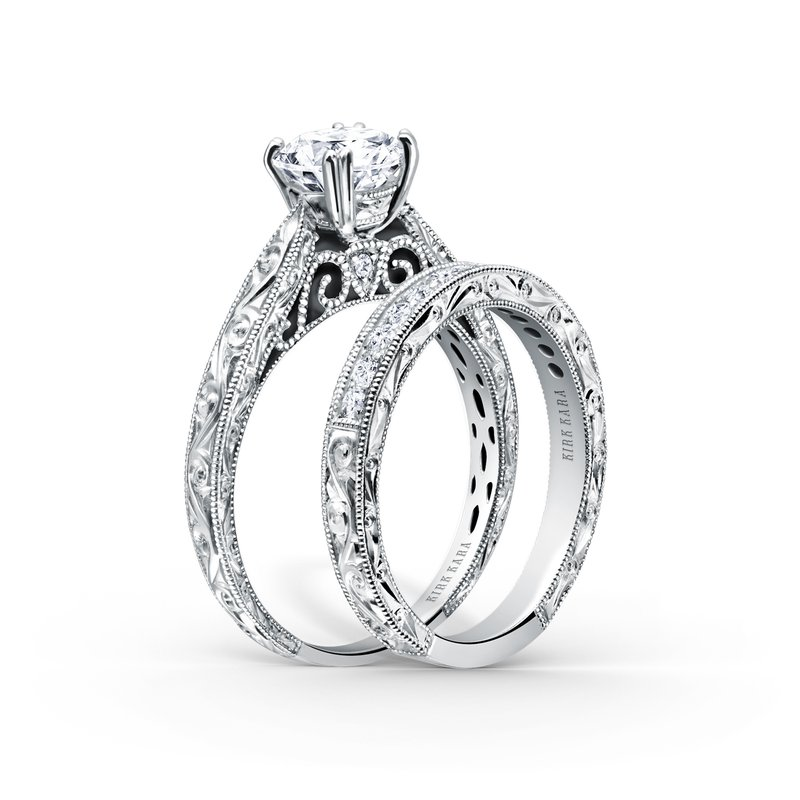 Engraved Classic Diamond Wedding Band