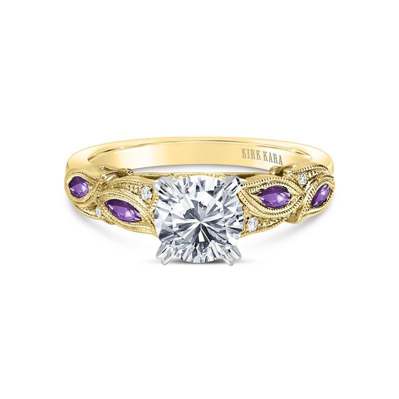 Amethyst Floral Leaf Diamond Engagement Ring